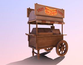 Wooden street food cart model with textures and UVs