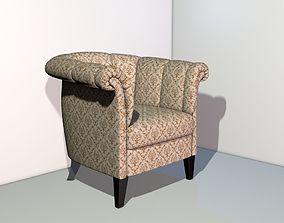Art deco wing style armchair 3D model