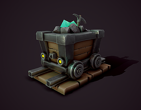 Stylized Mine Cart - Tutorial Included 3D
