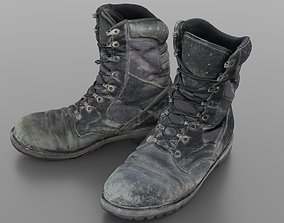 Worn and damaged military boots 3D