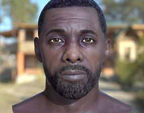 low-poly 3d model Idris Elba head V1