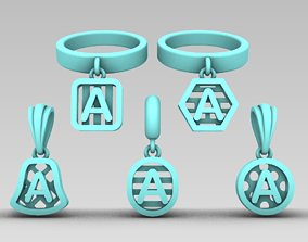 Initial letter charm with 3D print model 6