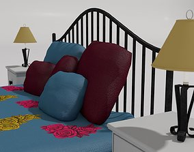 French Style Queen size Metal bars Bed 3D model