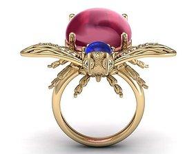 beetle bee ruby diamond ring 3D printable model