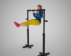 3D print model Sportive Girl Hanging on Horizontal Bar