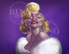 Caricature of Madonna 3D model
