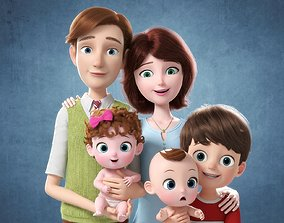 3D Cartoon Family Rigged V4