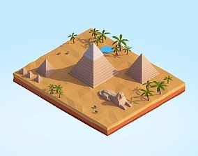 3D model Low Poly Egipt Piramids Landmark
