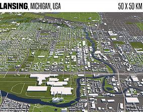 3D Lansing Michigan USA 50x50km