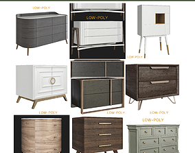3D asset Chest of drawers 10 pieces