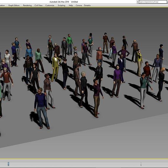 61 Lowpoly female People 6 3D model Low-poly 3D model