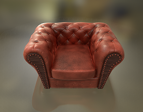 Chesterfield armchair Low-poly 3D model low-poly