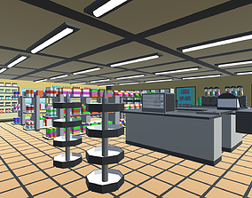 3D model Low Poly Convenience Store Pack