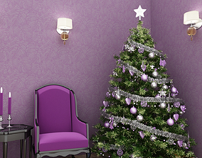 Christmas tree purple 3D
