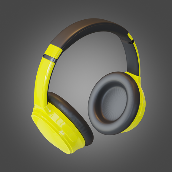 Headphone Yellow Lowpoly Pbr Subdivision Ready