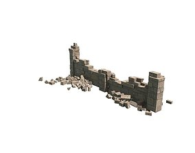 ruined wall 3D asset