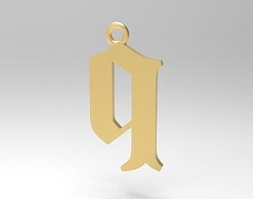 3D print model Gothic Alphabets Little Q Pendants