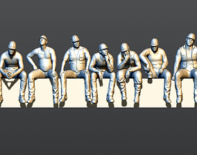 A group of builders sitting on a beam 3D print model
