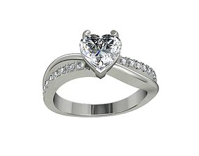 Engagement Ring Solitaire Model Ready For 3D Printing-