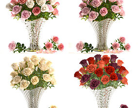 Collection of roses in a vase 3D model