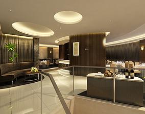 Modern European lobby dining room sofa chair living 3D 2