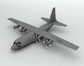 3D model Lockheed C130 Hercules Military Aircraft LOW