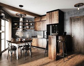furniture Livingroom and kitchen 3D