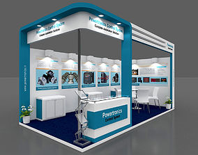 Exhibition stall 3d model 6x3 mtr 2 sides open
