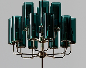 Brass and Blue Glass Tube Chandelier by Hans Agne 3D model