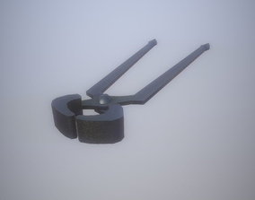 3D asset Game Ready LP Tongs Blacksmith PBR hand tool