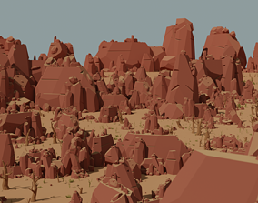 game-ready Cliff rock stone set 3D model Low-poly