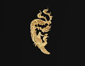 3D Golden Phoenix For Ring Pendant Decor Charm Lucky