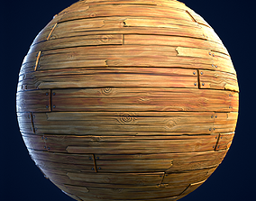 3D model Wood Boards Stylized Hand Painted Textures