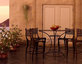 Outdoor Table With Dark Brown Chairs 3D model