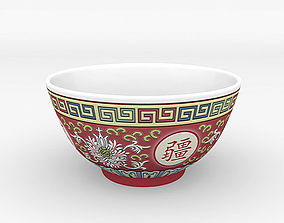 3D model Chinese Porcelain Wan Shou Rice Soup Bowl