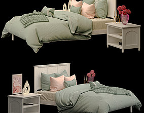 3D model Atlantic Madison White Wood bed