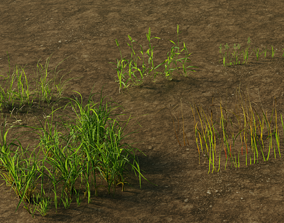 3D model VR / AR ready Grass Pack