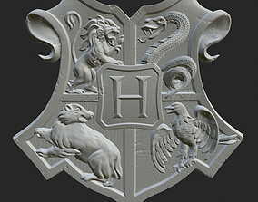 High-poly 3d Sculpture of the Hogwarts Emblem