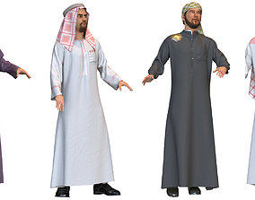 4 x Arabic man models real cloth simulation loop animated