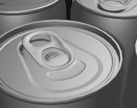3D model aluminum can of cola pepsi beer