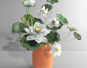 White lotus vase water lily vase tropical asian 3D