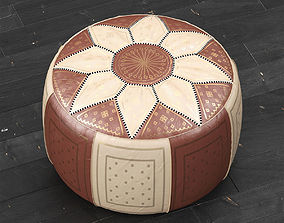 3D Moroccan Leather Pouffe Brown
