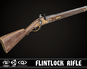 Double-barreled Flintlock Rifle Classic 3D model
