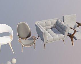 3D asset archiviz furniture set 4 chairs