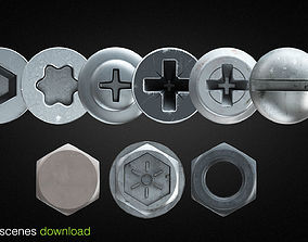 FREE 3D scene hex nut and screw heads for