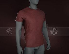 Slim Fit Red T-Shirt 3D asset