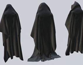 3D 3 Black Hooded Capes
