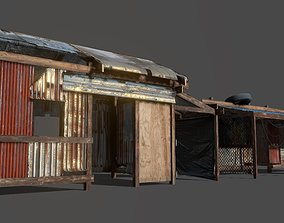 Lowpoly shanty houses 3D model