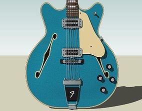 Guitar - Fender Wildwood Coronado - Turquoise 3D model 1