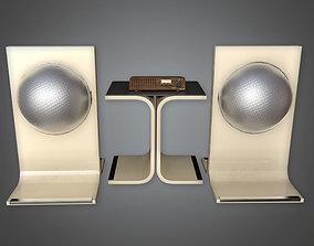 Speaker Set Midcentury Collection PBR Game Ready 3D asset